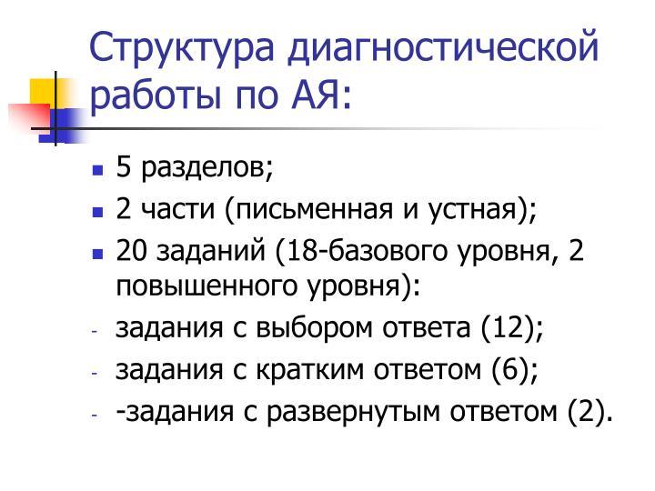 Структура диагностической работы по АЯ: