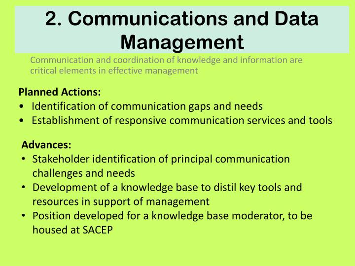 2. Communications and Data Management