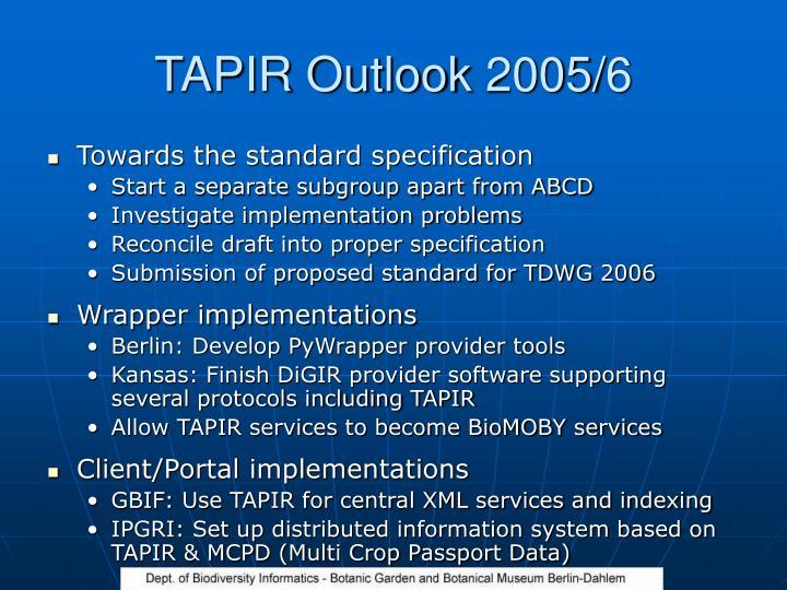 TAPIR Outlook 2005/6