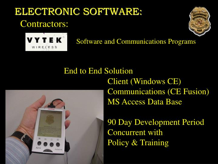 ELECTRONIC SOFTWARE: