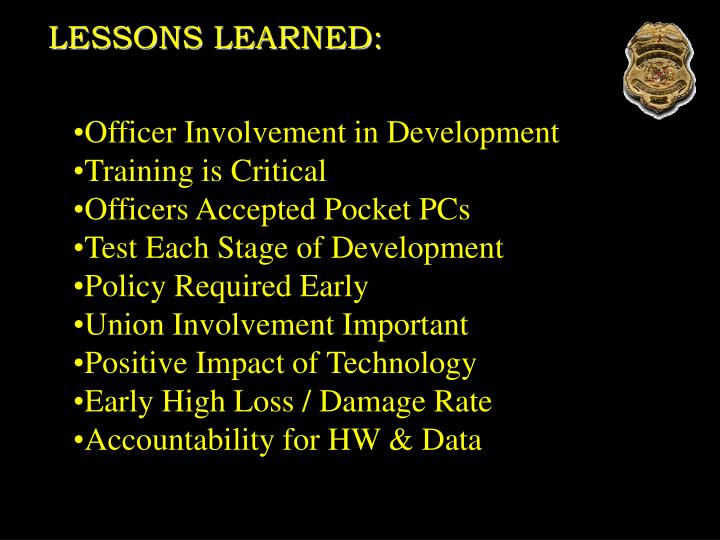 LESSONS LEARNED: