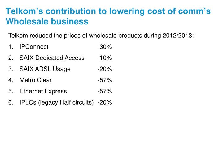 Telkom's contribution to lowering cost of comm's