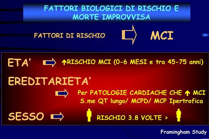 FATTORI BIOLOGICI DI RISCHIO E MORTE IMPROVVISA