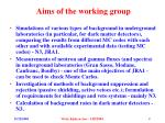 aims of the working group