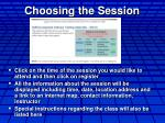 choosing the session
