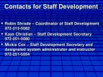 contacts for staff development