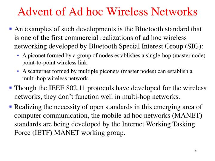 Advent of ad hoc wireless networks1