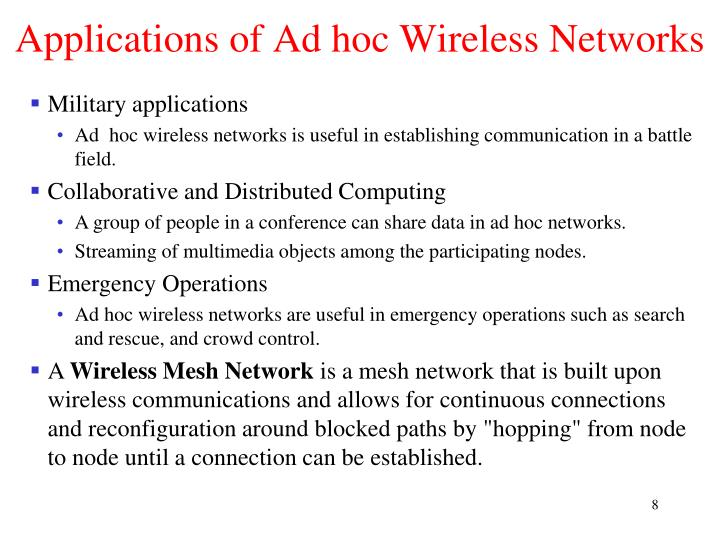Applications of Ad hoc Wireless Networks