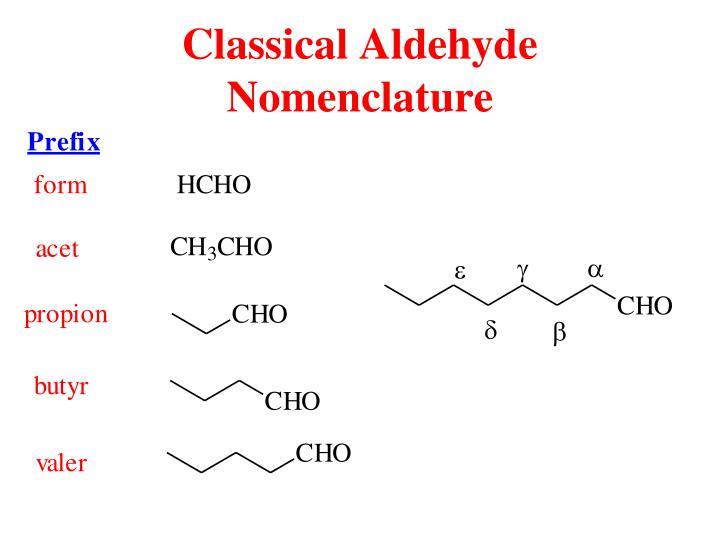 Classical Aldehyde Nomenclature