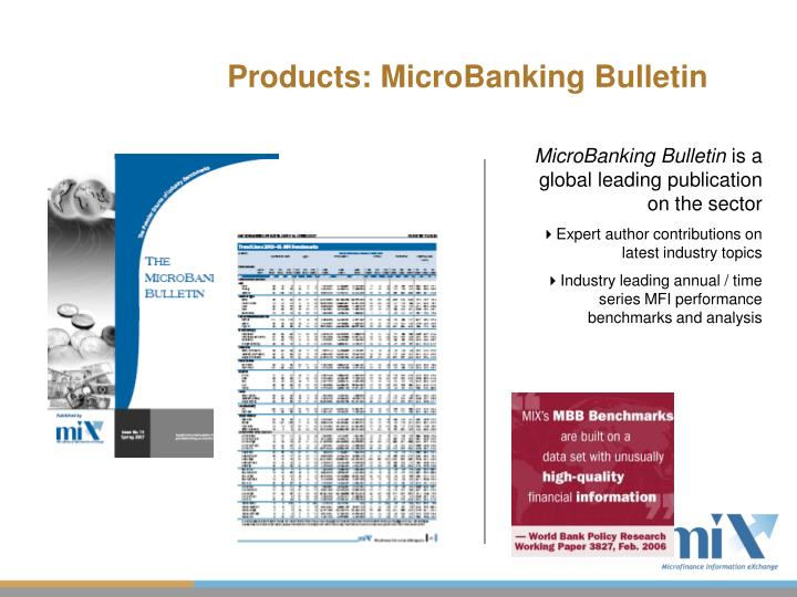 Products: MicroBanking Bulletin