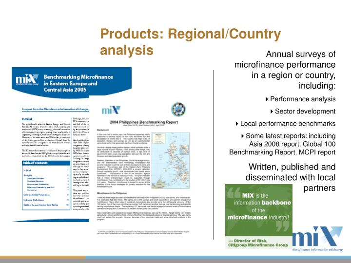 Products: Regional/Country analysis