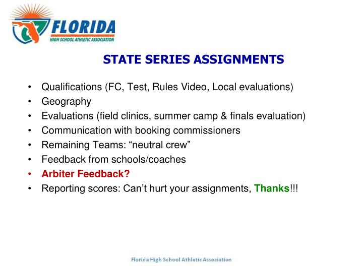 STATE SERIES ASSIGNMENTS