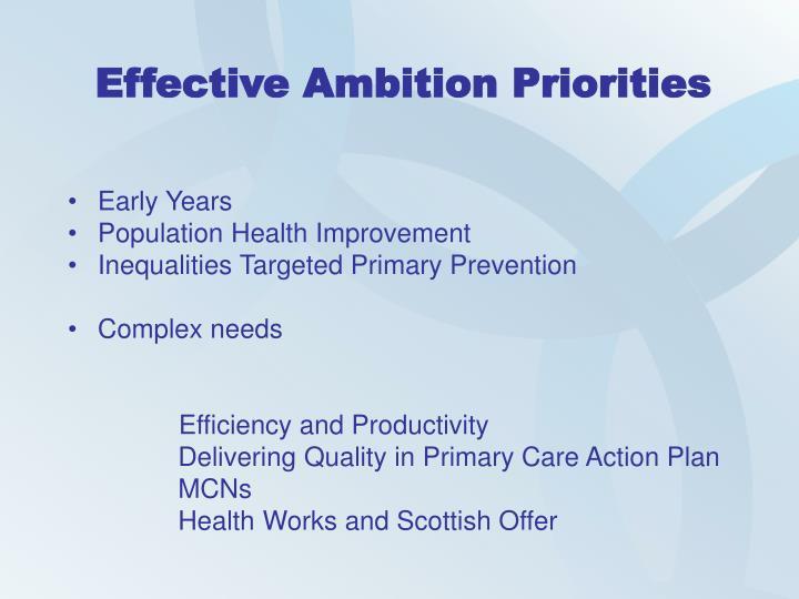 Effective Ambition Priorities