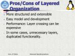 pros cons of layered organization