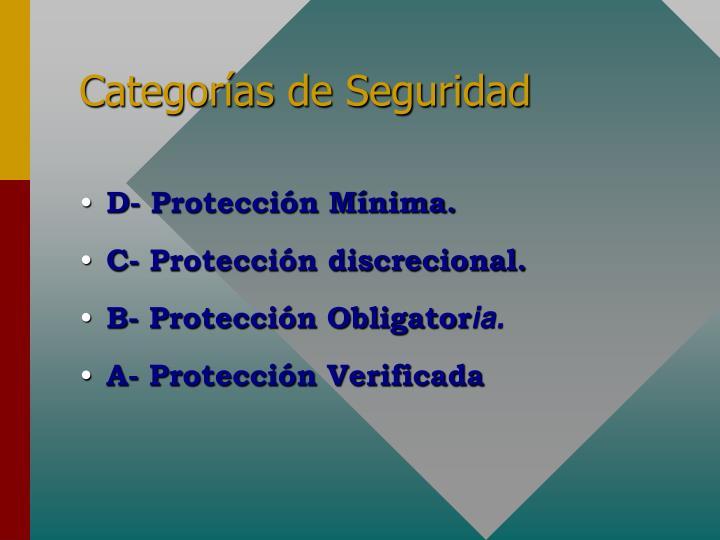Categorías de Seguridad