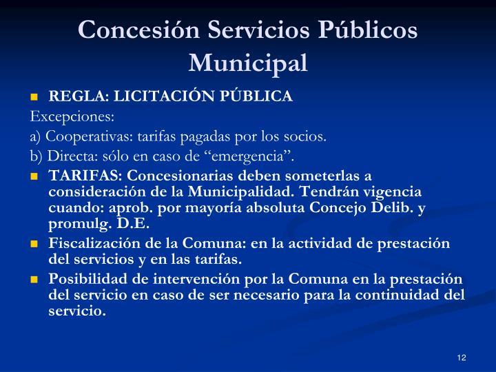 Concesión Servicios Públicos