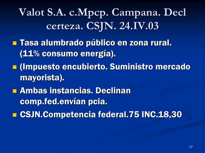 Valot S.A. c.Mpcp. Campana. Decl certeza. CSJN. 24.IV.03