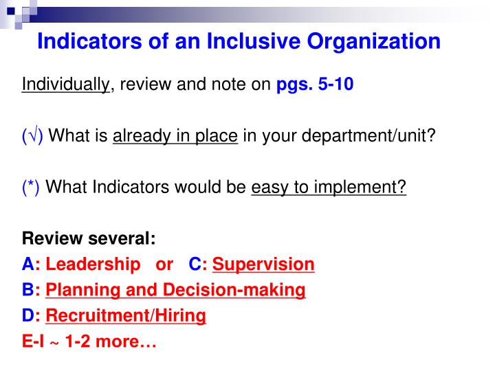 Indicators of an Inclusive Organization