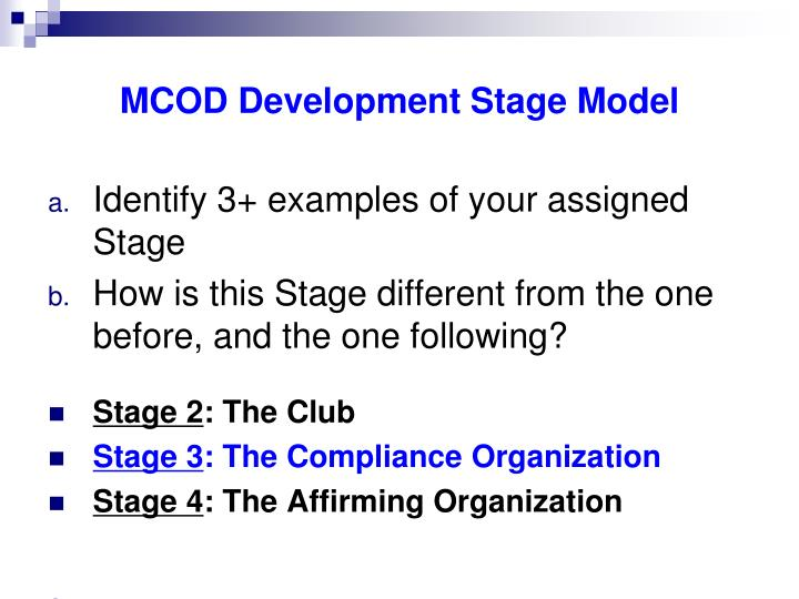 MCOD Development Stage Model