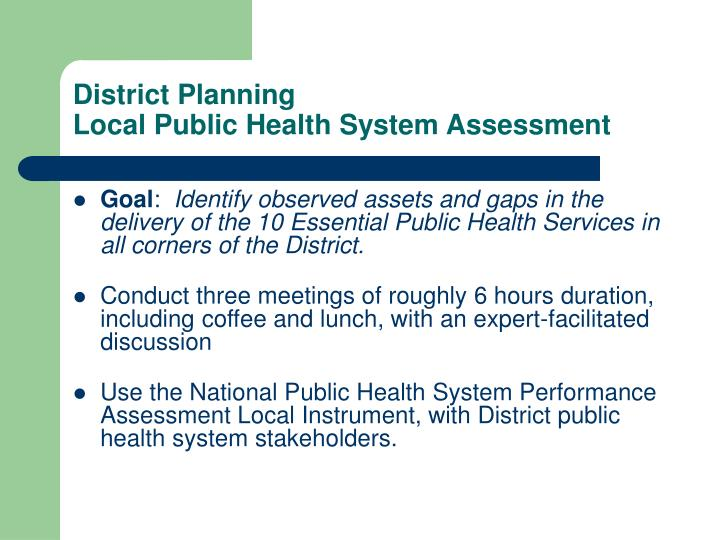 District planning local public health system assessment