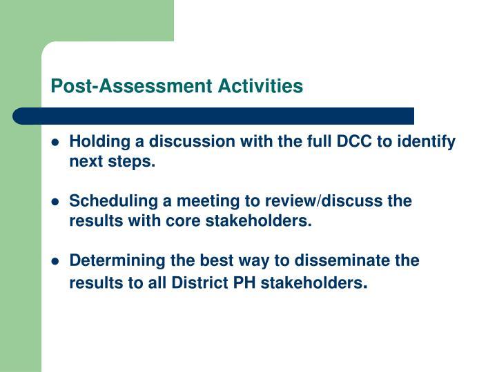 Post-Assessment Activities