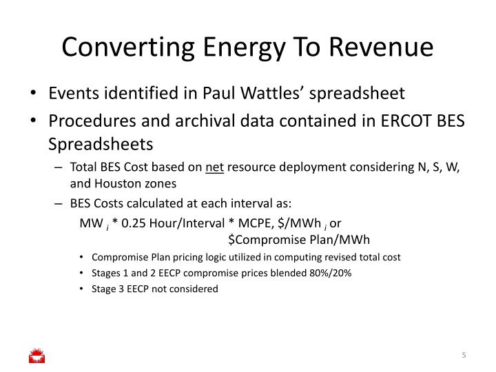 Converting Energy To Revenue