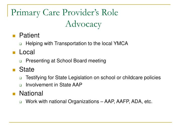 Primary Care Provider's Role