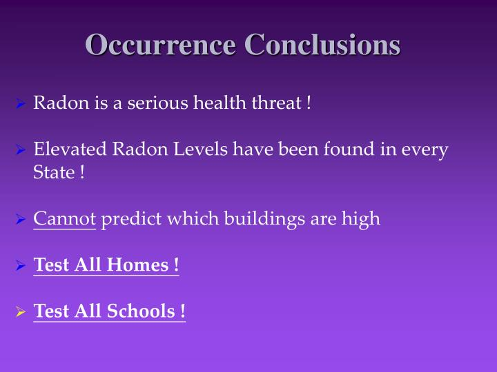 Occurrence Conclusions