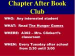 chapter after book club