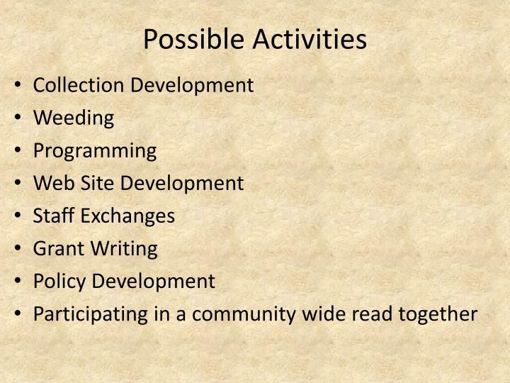 Possible Activities