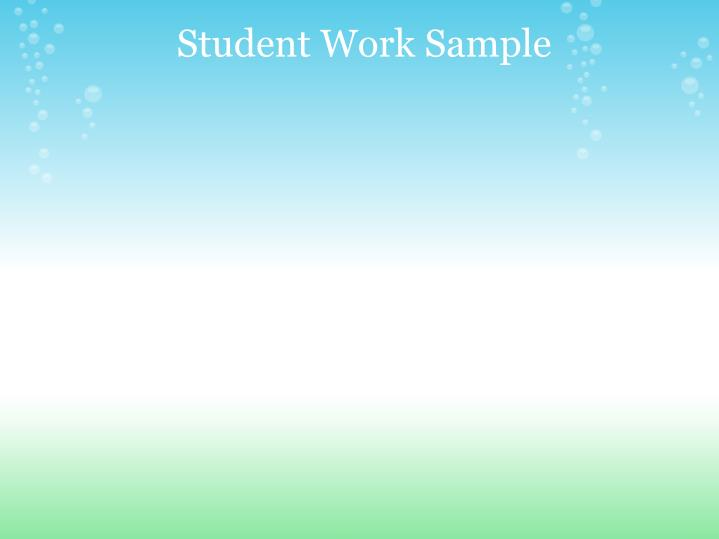Student WorkSample