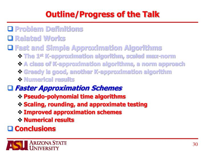 Outline/Progress of the Talk