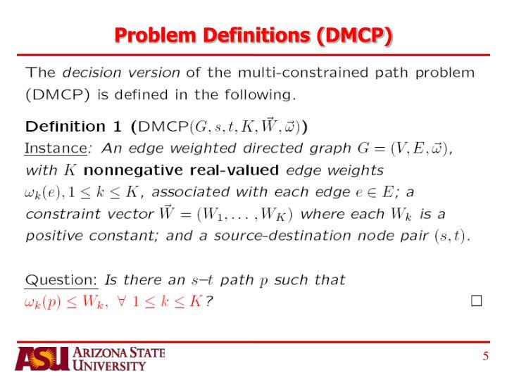Problem Definitions (DMCP)