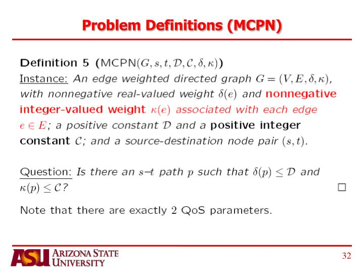 Problem Definitions (MCPN)