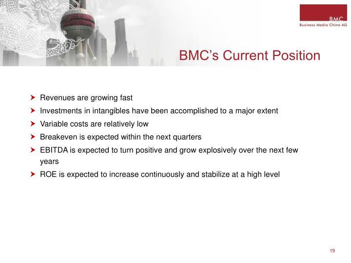 BMC's Current Position