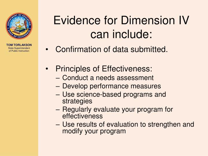 Evidence for Dimension IV can include: