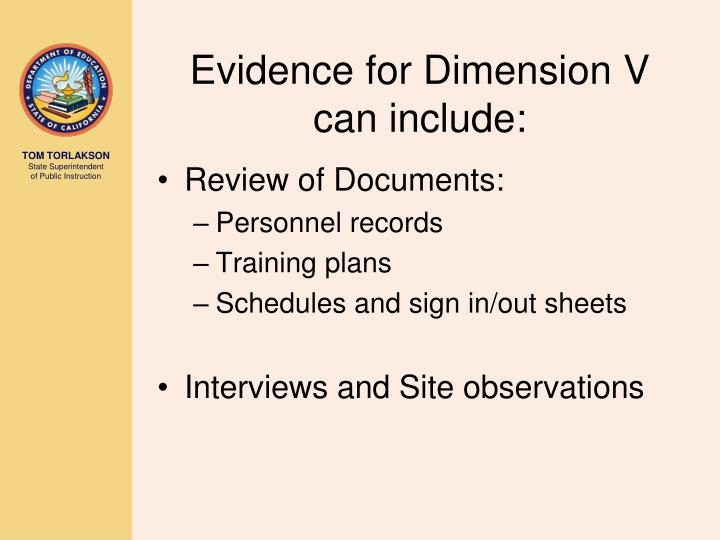 Evidence for Dimension V can include: