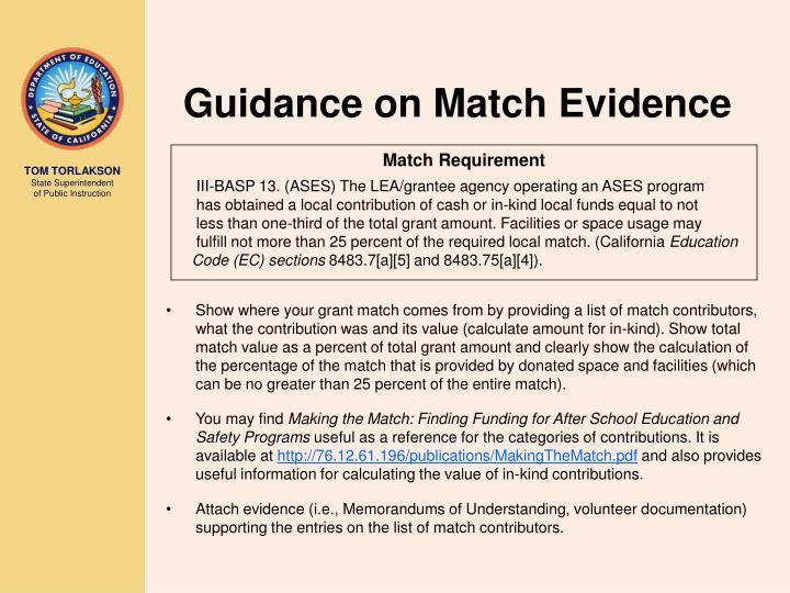 Guidance on Match Evidence