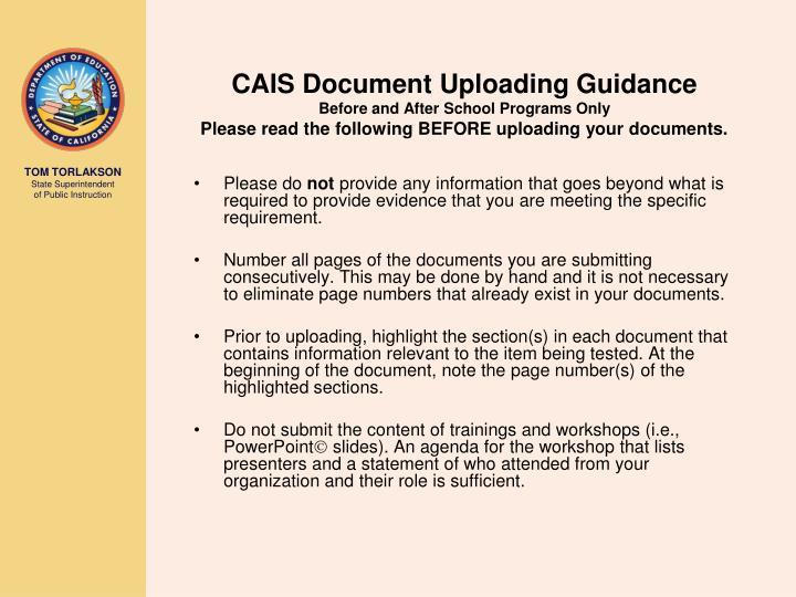 CAIS Document Uploading Guidance