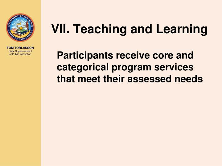 VII. Teaching and Learning