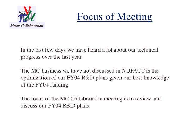 Focus of meeting
