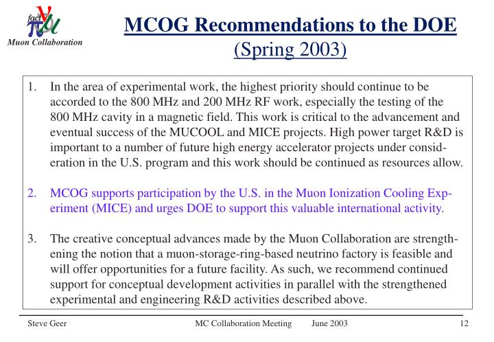 MCOG Recommendations to the DOE