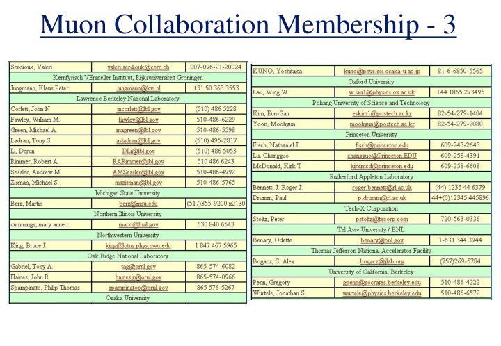 Muon Collaboration Membership - 3