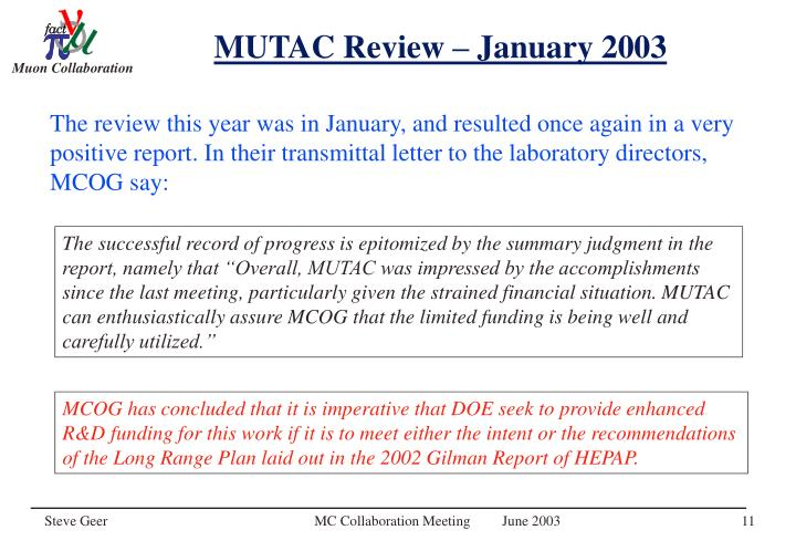 MUTAC Review – January 2003
