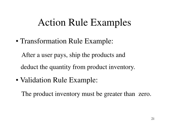 Action Rule Examples