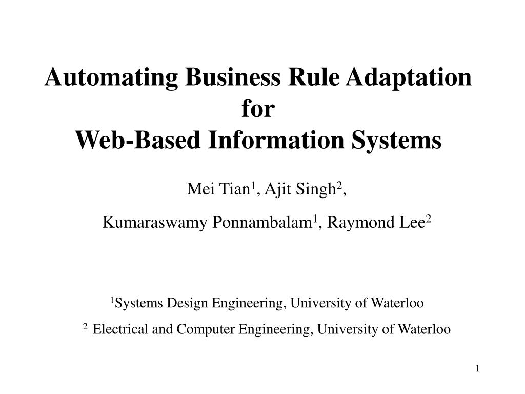 Ppt Automating Business Rule Adaptation For Web Based Information Systems Powerpoint Presentation Id 4253928