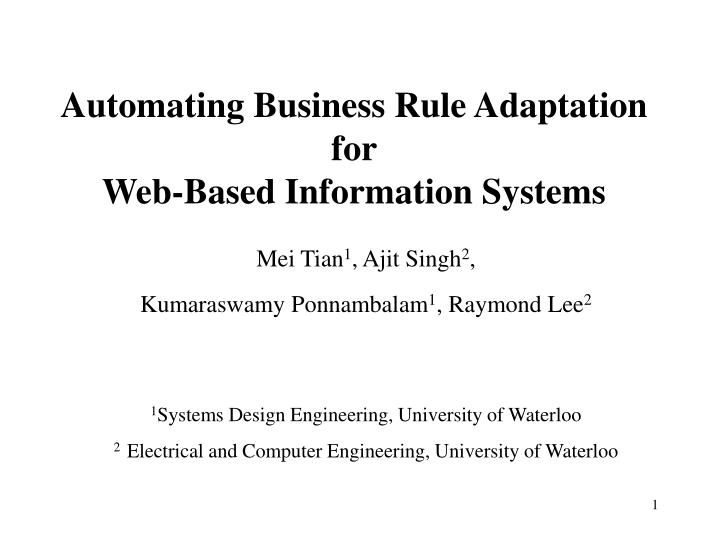 Automating business rule adaptation for web based information systems