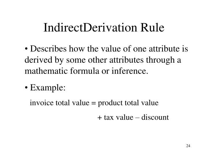 IndirectDerivation Rule