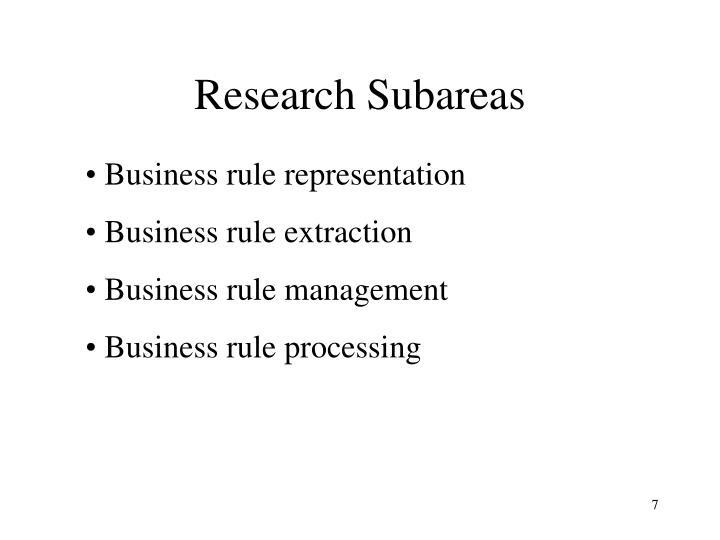 Research Subareas