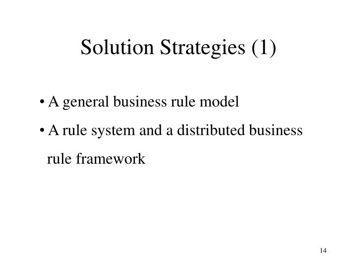 Solution Strategies (1)